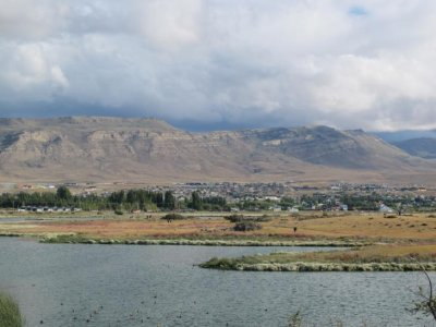 The view of El Calafate from the lagoon