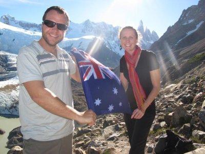 Aussie Aussie Aussie! We met a swiss man on the Laguna Torre trail who was wearing an Aussie bandana which we borrowed for this photo!