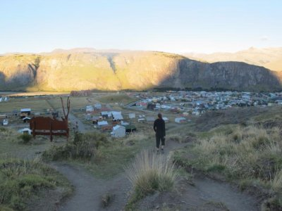 Walking back into El Chalten as the sun is starting to set