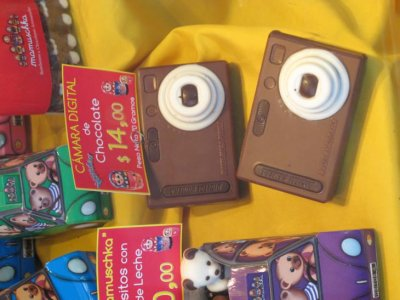 They had chocolate everything- here are some chocolate cameras, but you could also buy chocolate mobile phones, cars, books etc etc!