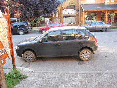 Our dusty little hire car, perfectly reversed parked