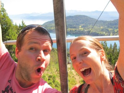 Making our own fun on the chairlift ride!