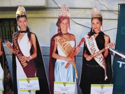 Cardboard cut outs of the Beauty Queens lined the streets so that people could vote for their favourite! I had to drag Ben away!