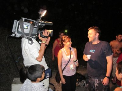 Bobby's moment of fame: Being interviewed by the local TV crew.