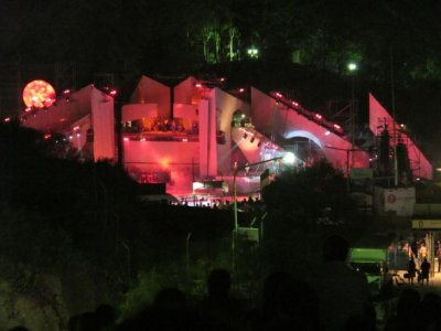 Our view of the extravaganza! We had more fun on the hill top than we did watching the show!