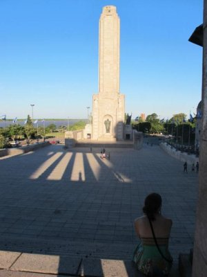 Chelle gazing out from the monument, most likely daydreaming of Rosario ice cream