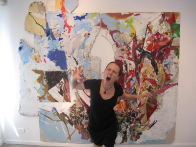 Chelle showing her artistic expression in the Rosario art gallery