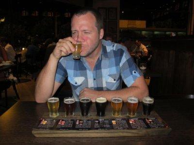 An aficionado doing some beer tasting in Rosario microbrewery