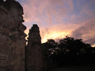 The setting sun over the ruins