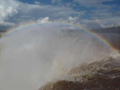 "A rainbow over the Gargantas del Diablo (or ""The Devils Throat"")."