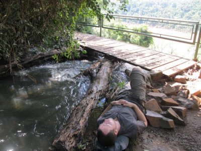 Passing out by the creek on the Macuco Trail