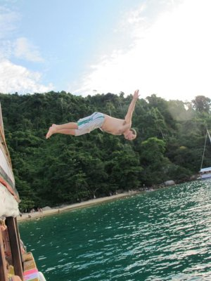 Diving off the top deck of the boat