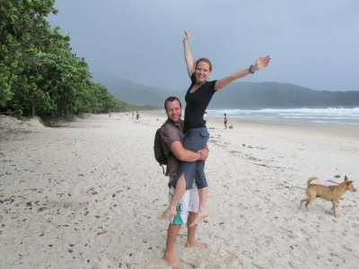 Tropical beach in a tropical storm on Ilha Grande