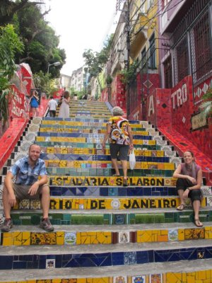 The famous colourful Lapa Stairs created by an eccentric artist who collects tiles from around the world and uses them in his stairway design.