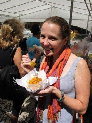 Tasting the street food at the Ipanema Beach Markets