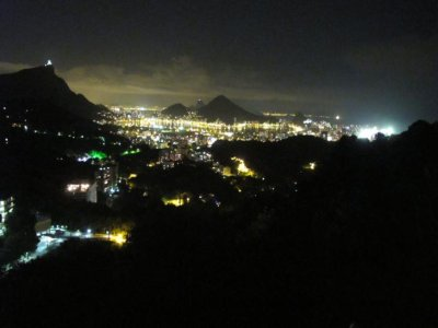 The Rio night scene from the hill in the favela