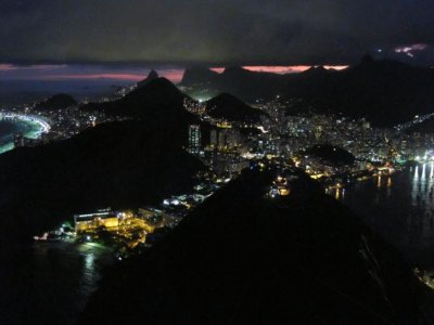 View of Rio at night from the Sugar Loaf mountain