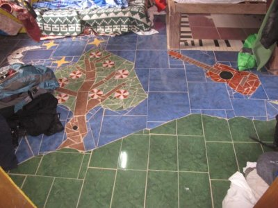 Art to be found in every corner - mosaic floor in our cabin