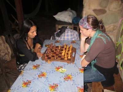 Chelle and Sol playing chess - go babe crush em! :-)