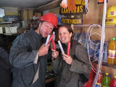Nothing quite screams Potosi mine fun like holding dynamite sticks in your hand