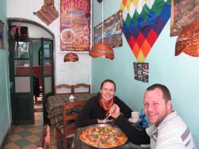Pizaa Potosi Style in a small street restaurant