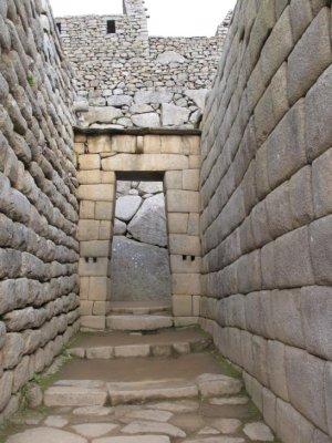 Stone corridors in Machu Picchu