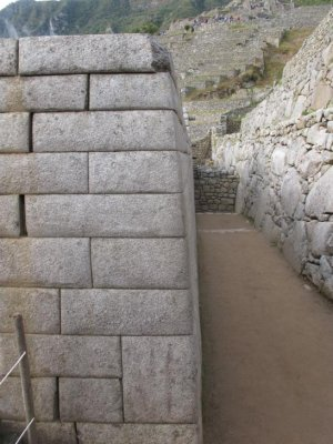The perfectly aligned Incan walls all slope at a 13 degree angle