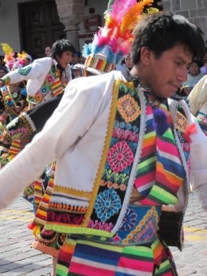 Colourful traditional dancing during the religious festival