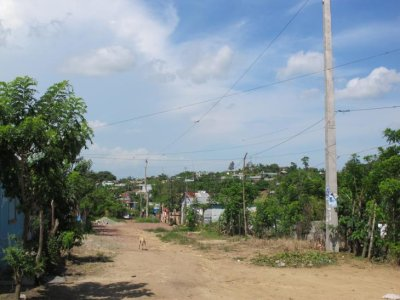 Cielo's street. The area is a developing neighbourhood and is yet to have paved roads