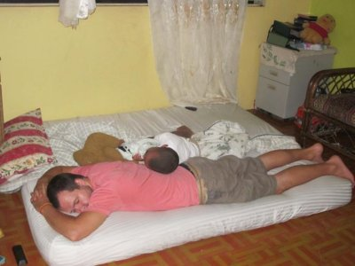 Little Joe and Ben sound alseep at the end of another long, Dominican night!