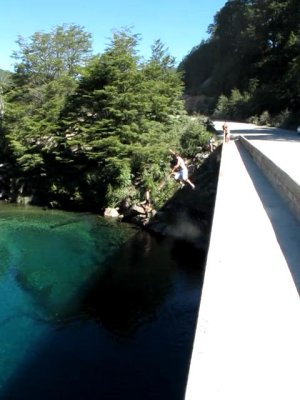 Bridge jumping to an audience