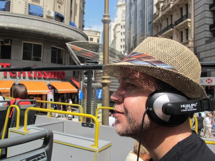 DJ Benrama on the open-air bus