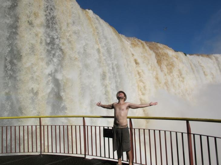 Ben having one of those travel moments at the falls