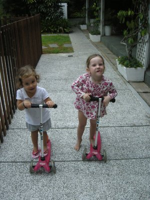 Lulu and Bella Scootering