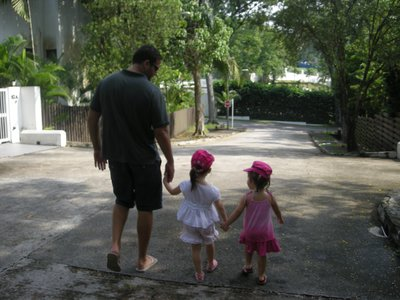 Seth and the girls off for a leisurely walk