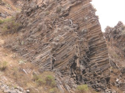 Great rock formation, on the way up Colca Canyon
