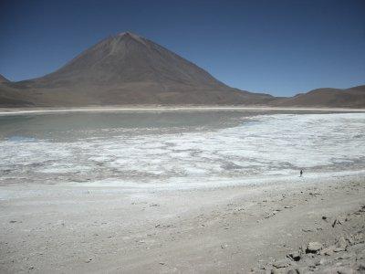 Laguna Blanca with Volcano Licancabur