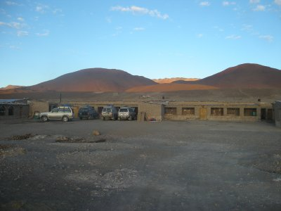 Lodgings on tour night 1 - no showers, concrete blocks with matresses on them- 4500m altitude