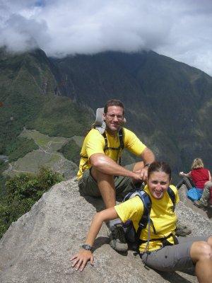 One nervous Sarah at the top of Wayna Picchu