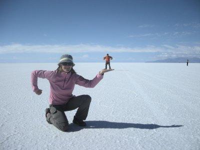 Strong Sarah- mini Seth- Salar de Uyuni- salt lake