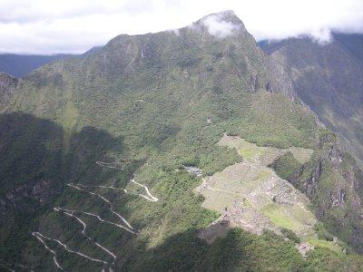 Up Wayna Picchu- Sungate (far left), road down to Aguascaliente and Machu Picchu