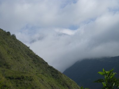 the best view of the Volcano - you can just see the edge of it through the clouds