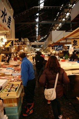 navigating the stalls at the market