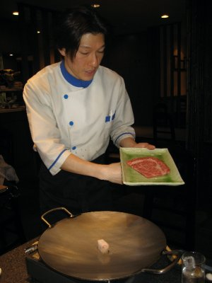 presenting the 4th tray of Kobe beef
