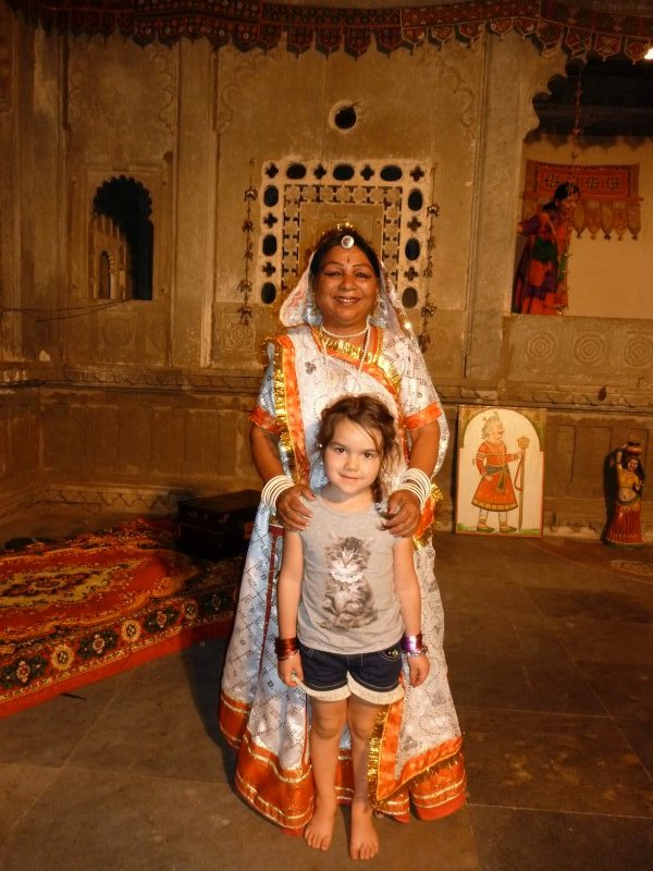 Posa with traditional Indian dancer