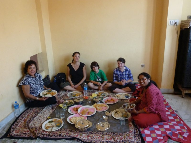 feasting on our first homecooked Indian meal