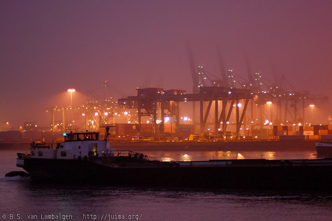 Rotterdam harbour before dawn