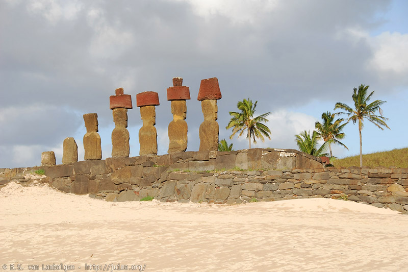Moai at Ahu Nau Nau at Anakena Beach