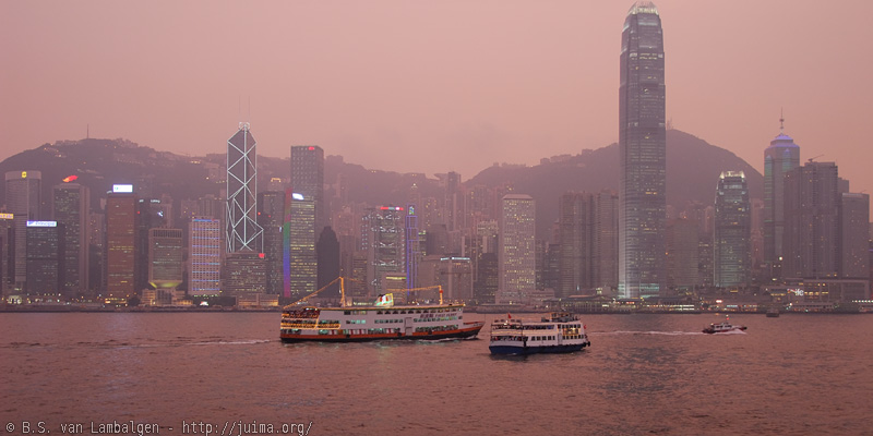 Hong Kong skyline around sunset