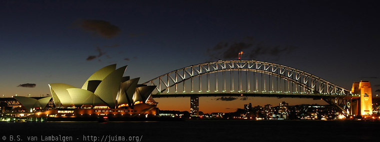 Opera House and Harbour Bridge at night